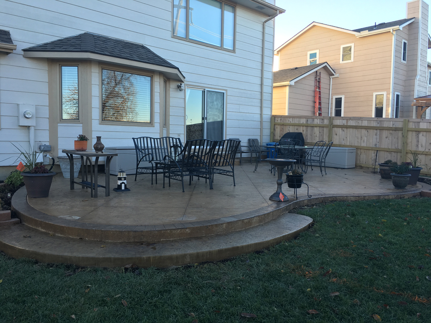 Patios porches e j concrete and dirt work for Back patio porch designs