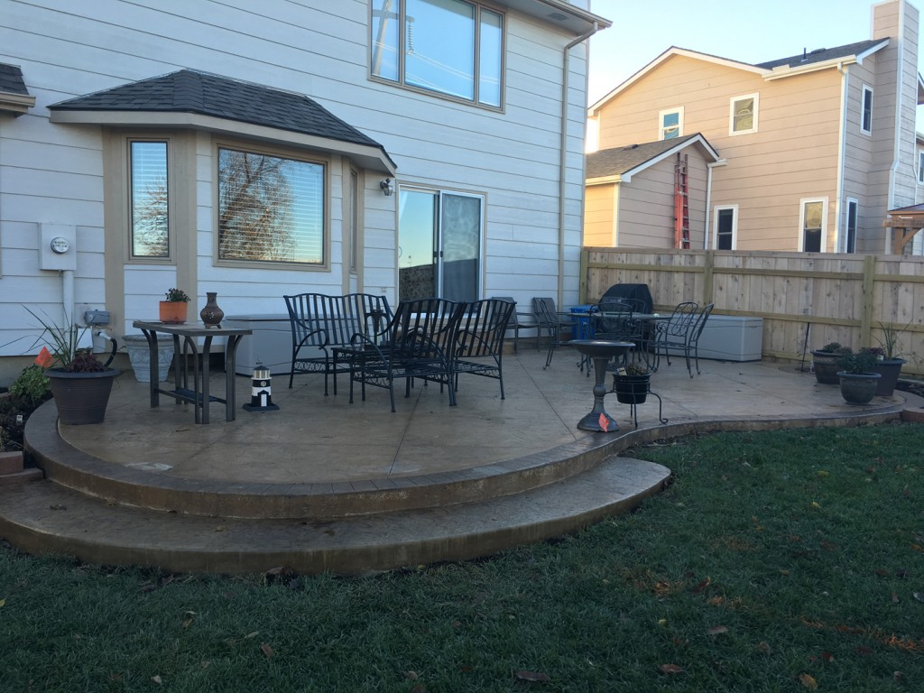 Patio designs pool remodeling wichita stamped concrete dirt - Concrete backyard design ...